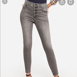 Express Super High Rise Button Ankle Jean 2 NWT